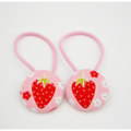 Fabric Covered Button Hair  Ties. STRAWBERRY design.  red pink MEDIUM