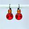 Red Rivoli Earring, Siam Swarovski Earring, Bridesmaid Earring