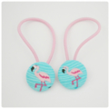 Fabric Covered Button Hair  Ties. FLAMINGO design.  pink turquoise