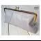 Grey leather clasp clutch