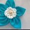 """Evie"" Turquoise Raw Silk Flower Brooch"
