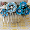 Shabby Chic Collage Hair Comb, Something Blue Shabby Chic Hair Comb