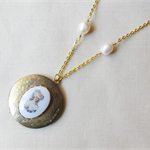 Jane Eyre Locket Necklace Charlotte Bronte Vintage Raw Brass Gold Cabochon