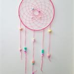 Dreamcatcher - Coral  with gelati coloured handmade polymer clay beads