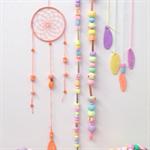 Mini Dreamcatcher - Pastel peach/apricot with handmade orange polymer clay beads