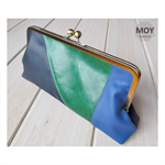Navy, Royal blue and Emerald leather clasp clutch