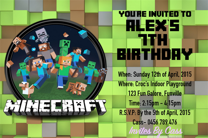 minecraft kids birthday party invitations invites by cass madeit