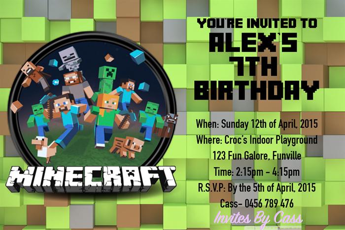 MINECRAFT KIDS BIRTHDAY PARTY INVITATIONS Invites By Cass