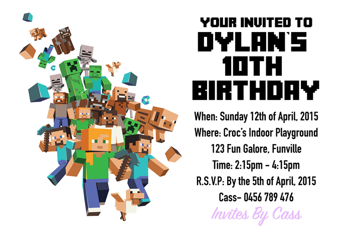 Minecraft kids birthday party invitations invites by cass minecraft kids birthday party invitations stopboris Images