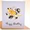 Birthday Card Floral Flower Yellow Black Grey Personalise Card FBDAY030