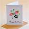 Birthday Card Floral Flower Die Cut Design Personalise Card FBDAY031