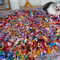 multicolour tattered recycled silk rag  rug mat