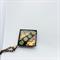 Green, gold and copper glass and millefiori pendant