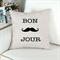 Bonjour Mustache quote Cushion Cover Pillow Cover 45x45cm Natural Linen Blend