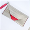 Silver leather clutch Purse with red suede tassel