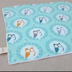 wash or burp cloth - aqua owls / organic cotton bamboo / baby child unisex