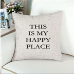 Large Happy Place quote Cushion Cover Pillow Cover 45x45cm Natural Linen Blend