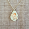 Decoupage wood necklace on silver chain with cute pink cat