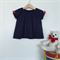 Baby Girl Navy Blue Puffed Sleeve Top - Made to Order
