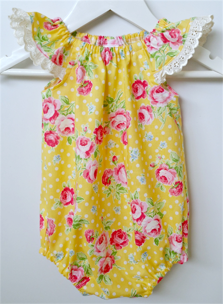 'Summer Rose' Yellow Seaside Baby Romper / Playsuit  