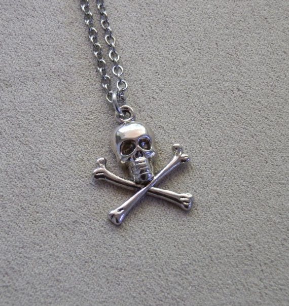 Necklace skull and crossbones charm out of the dark designs necklace skull and crossbones charm aloadofball Gallery