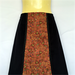 Retro Black Corduroy A Line Skirt - ladies sizes avail - brown bird print panel