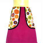 Retro Pink Corduroy A Line Skirt - ladies sizes available - daisy print pockets
