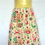 Retro Woodlands Animal A Line Skirt - ladies sizes avail - fox owl tree raccoon