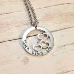 Personalised Hand Stamped Heart Design Name Family Circle Pendant Necklace