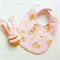 Pink rabbit girl baby bib and teether teething ring gift set