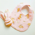 Easter neutral rabbit girl boy baby bib and teether teething ring gift set