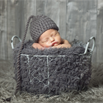 Grey Sleeper Hat / Newborn Photography Prop