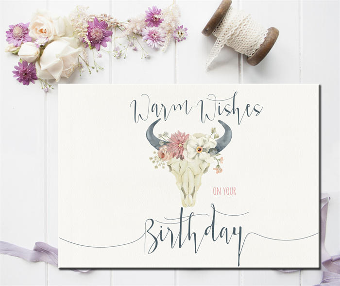 Best Friend Birthday Card, Happy Birthday Card, Boho Greeting Card