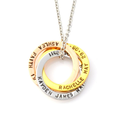 Linked Rings (3 Tone) Pendant with Chain - Stainless Steel Handstamped Jewellery