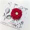 Burlap ruby red flower botanical paper celebrate female friend mum sister card