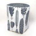 "Reversible Fabric Bucket - ""Feathers"" Grey Polka dots (15cm sq base)"