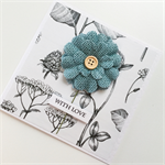 Botanical paper denim blue flower with love sympathy thinking of you card