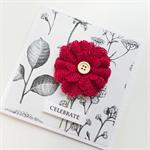 Celebrate burlap ruby red flower botanical paper bloom congratulations card