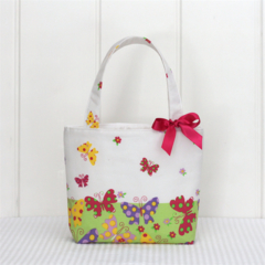 Mini Tote Bag for Little Girls - Spring Butterflies