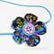 Bella-Button Flower Headband - Blue, Green & Pink Floral