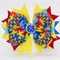 Bella 'Autism Awareness' Bow - Red, Blue & Yellow