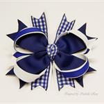 Gingham Bella 'School' Bow (1) - Custom Made in school colors