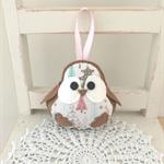 Christmas robin bird, decoration, grey, pink, pastel