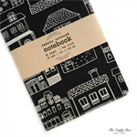 Dark Grey House Upcycled Fabric Covered Notebook