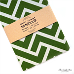 Green Chevron Fabric Covered Notebook