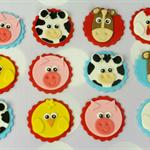 12 x Edible Farm Animal Cupcake Toppers