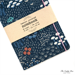 Navy Blue Woodland Fabric Covered Notebook