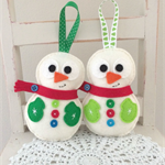 christmas snowman decoration, holidays, festive, felt, ornament