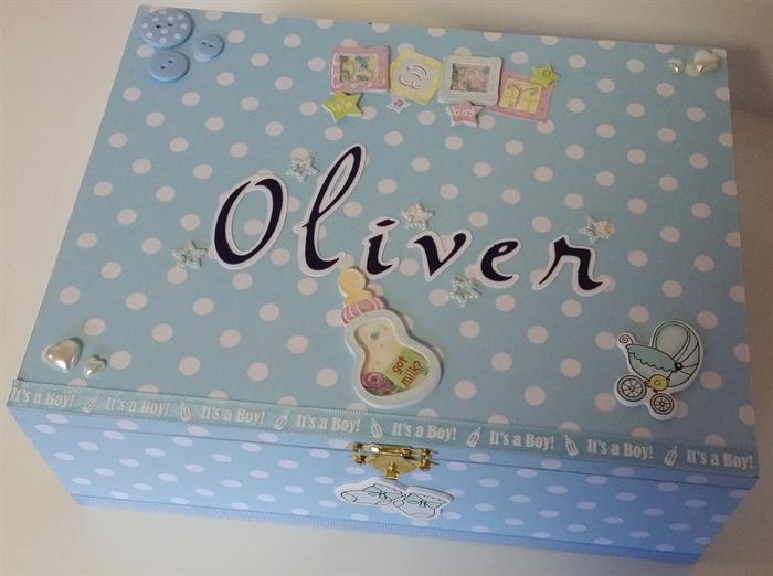 baby boy personalised keepsake treasure trinket memory wooden box