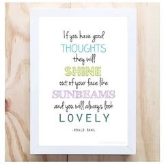A4 Roald Dahl Quote- Good Thoughts (purple/Aqua) Illustration Art Print Poster